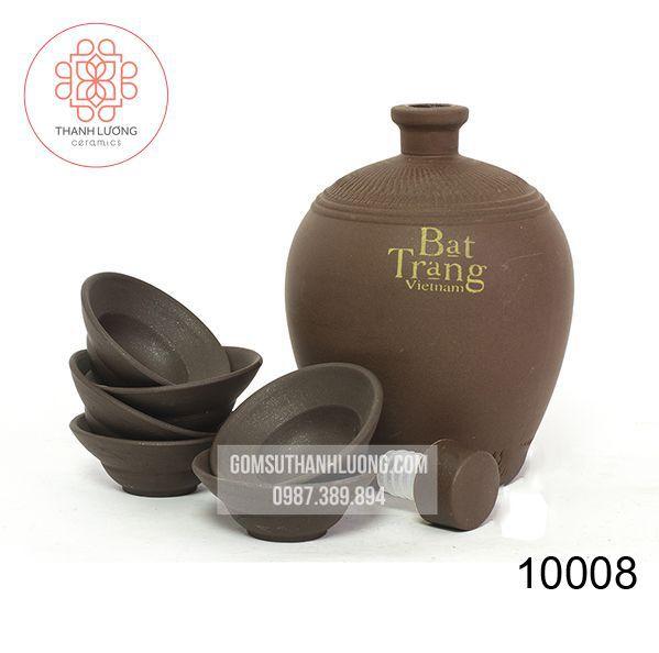 Bình Gốm Đựng Rượu Kèm Bát Bát Tràng -10008