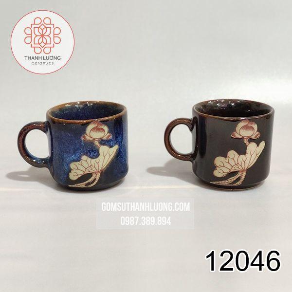 Cốc Uống Nước Quai C Nhỏ Vẽ Sen Bát Tràng - 12046