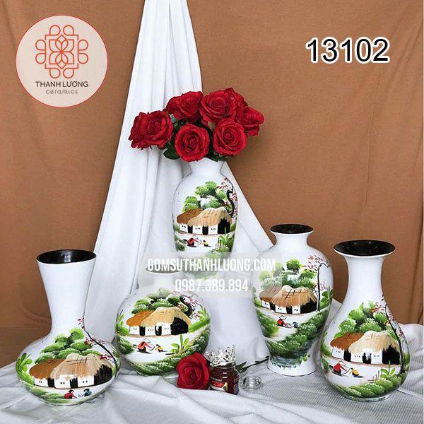 Bình Cắm Hoa Gốm Sứ Bát Tràng Sơn Mài Làng Quê Trắng