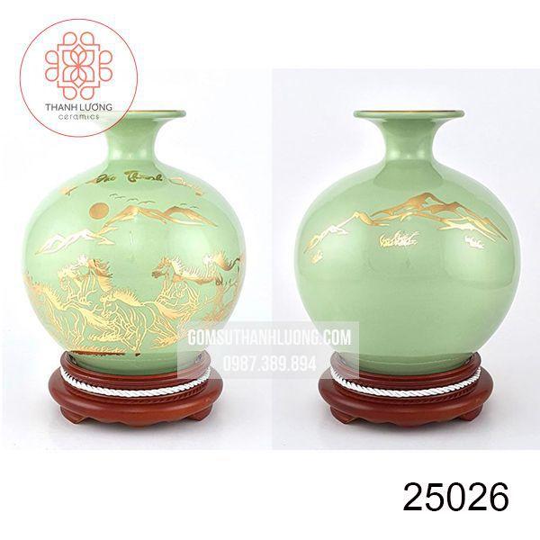 Bình Hút Lộc Vẽ Vàng Mã Đáo Thành Công Bát Tràng Cao 30cm - 25026
