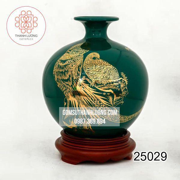 Bình Hút Lộc Vẽ Vàng Bát Tràng 28cm - 25029
