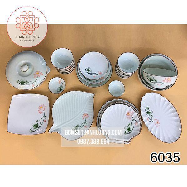 Bộ Bát Đĩa Sứ Bát Tràng Sen Hồng - 6035