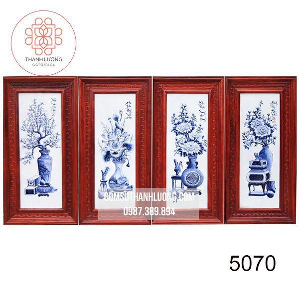 Bộ Tranh Sứ Đắp Nổi Cổ Đồ Tràm Khung Gỗ Hương 98x48cm