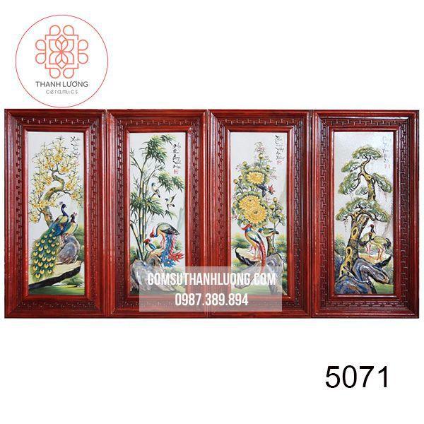 Bộ Tranh Sứ Bát Tràng Đắp Nổi Tùng Cúc Trúc Mai Khung Gỗ Hương 98x48 cm