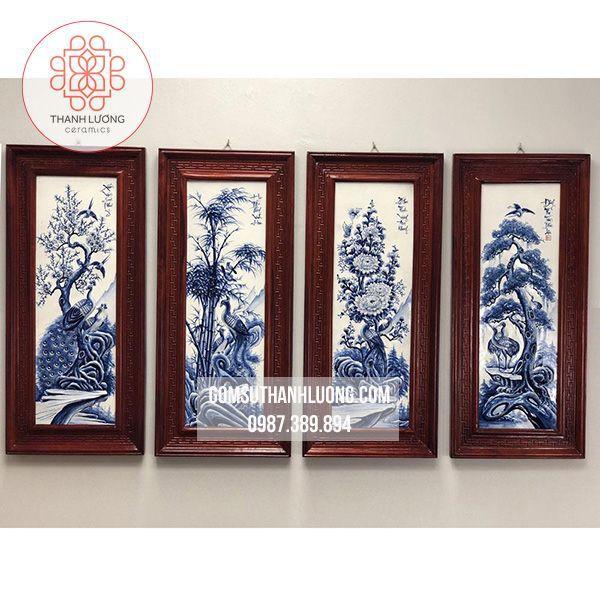 Bộ Tranh Sứ Treo Tường Đắp Nổi Tứ Quý Men Tràm Khung Gỗ Hương 98x48cm