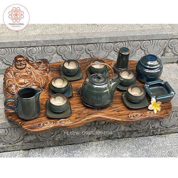 Bộ Ấm Chén Bát Tràng Lòng Hoa Dáng Chuông - 15185