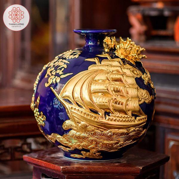 Bình Hút Lộc Thuận Buồm Xuôi Gió Dát Vàng 30cm - 25155