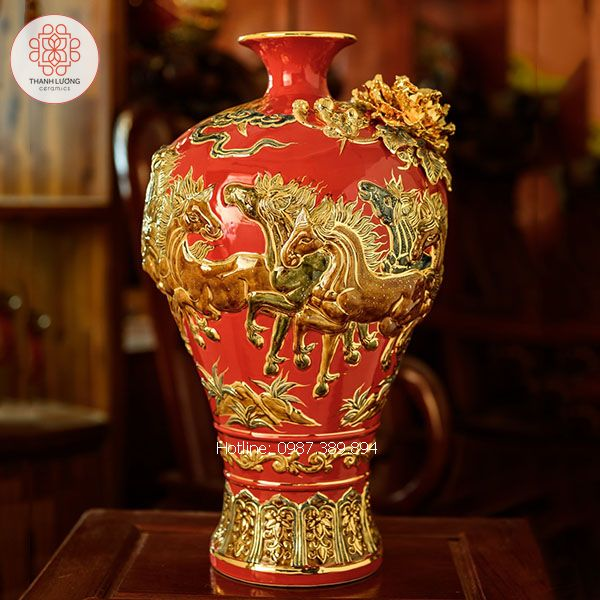 Mai Bình Tích Lộc Mã Đáo Thành Công Đắp Nổi Vẽ Vàng - TL25159