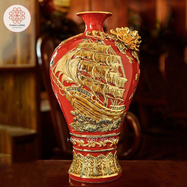 Mai Bình Tích Lộc Thuận Buồm Xuôi Gió Đắp Nổi Vẽ Vàng - TL25160