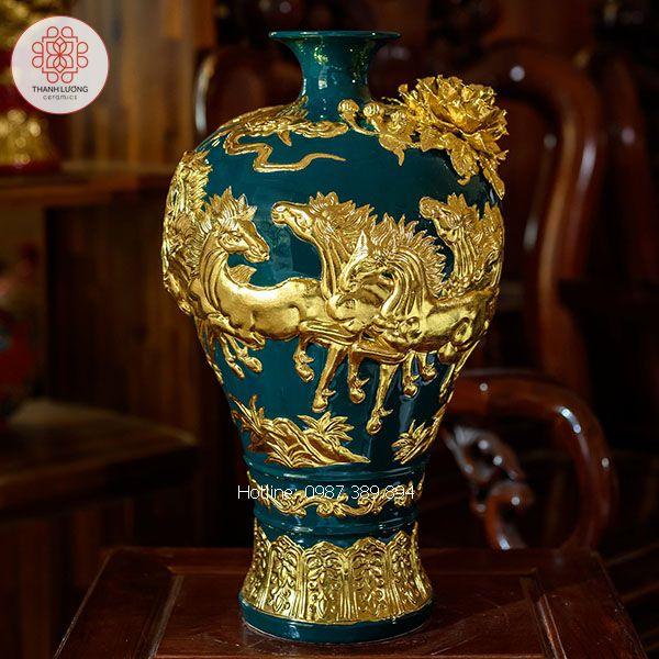 Mai Bình Mã Đáo Thành Công Dát Vàng Bát Tràng - TL25166